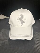 White Ferrari Hat Silver Horse Logo Adjustable Strap With Logo Official Product