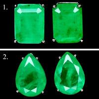 FOREST GREEN DOUBLET EMERALD STUD STYLE EARRINGS 925 STERLING SILVER
