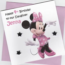 Personalised Handmade Minnie Mouse Birthday Card - Daughter, Sister, Niece etc