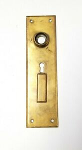 """B81 Antique Back Plate 7 5/16"""" x 2"""" Door Hardware Double Security Keyhole Brass"""