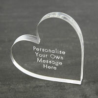 Personalised Clear Love Heart Message Keepsake Birthday Wedding Anniversary Gift
