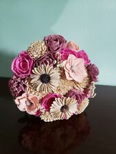 Genuine Southern Blooms sola wood Flower Pink And White Wedding Bouquet custom
