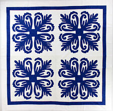 Blue & White Hawaiian design QUILT TOP - All Hand Applique work ! - Very Nice