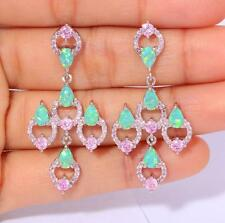 *FABULOUS* Silver/Rhodium Plated GREEN LAB FIRE OPAL/PINK TOPAZ EARRINGS 43x21mm
