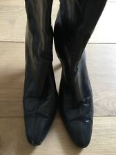 Jimmy Choo Black Leather Knee High Boots Zip Block Heel EU 39 UK 6 6.5 US 8.5 9