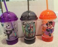 Disney Mickey-Jack Skellington-Sally Light Up Flashing Dome Top Cup & Straw NEW