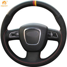 MEWANT Black Leather Suede Wheel Cover for Audi A3 8P A4 B8 A5 2008-2010 A6 C6