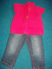LOVELY 2 PIECE F&F JEANS WITH PINK STITCHING & MOTHERCARE GILLET 12 - 18 MONTHS