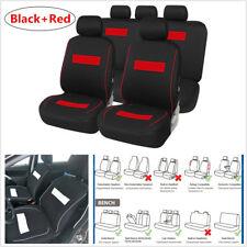 9Pcs Universal Car Seat Cover Protector Mat Autos Interior Accessories Black+Red