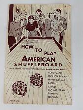 1958 Instruction Book How To Play American Shuffleboard