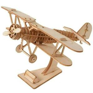 Biplane Wooden Model Kit Laser-Cut DIY Puzzle Aircraft Aeroplane Airplane Plane