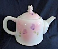 Cat Teapot with Lucky Kitty Image on Lid, Floral Design, 2 Cups