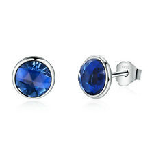 Authentic Sterling Silver September Droplets Synthetic Sapphire Stud Earrings