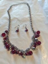 ROLO CHAIN WITH RED PEARLS AND CRYSTALS AND SILVER BEADS MATCHING EARRINGS