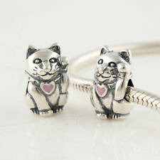 Loving Cat In My Heart Charm Bead Sterling Silver S925