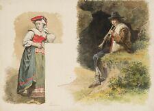 E.MOHN(*1835), Italienische Landleute in Tracht, 19.Jhd., Aquarell