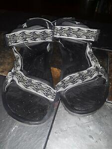 Teva Rubber Shoc Pad Sport Hiking Sandals Black brown gray print Mens Sz 9