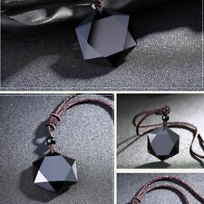 Jewelry Lucky Black Blessing Amulet Hexagram Shape Necklace Obsidian Pendant