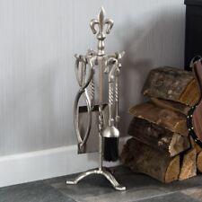 5 piece fleur de lys feu compagnon ensemble d'outils cheminée en étain par réduction de la maison