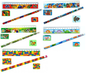 4 Piece Stationery Set - Ruler Pencil Sharpener Eraser School Supplies Party Bag