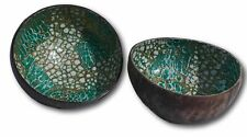 Set of two stylish Coconut bowls with green lacquered interior