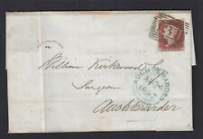 1847 GB Great Britain Queen Victoria 1d imperf wrapper with reply Auchterarder
