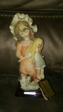 Giuseppe armani Statue Rare Girl With Doll Cat florence Italy Porcelain 1984