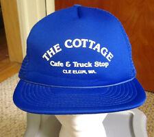 COTTAGE CAFE & TRUCK STOP trucker cap diner Cle Elum hat Washington vtg snapback