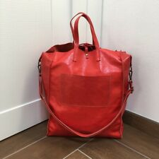Borsa Shopper Artigianale Vera Pelle Grigio Fango Genuine Leather Tracolla Tasca