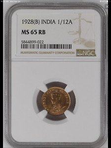 1928 (B) India British 1/12 Anna coin NGC MS-65 RB