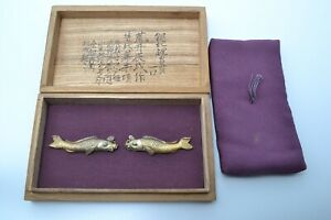 Menuki antique Japanese sword kodogu Arai Tatsunari carp design Silver Edo