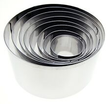 Eddingtons Set of 8 Deep Round Cookie Biscuit Pastry Cutters Assorted Sizes New