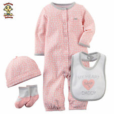 Carter's 4 pc Set w/ Sleep & Play, Bibs, Socks & Cap, 9 months