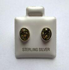 Argent Sterling Ovale Vert Ambre Boucles D'Oreilles