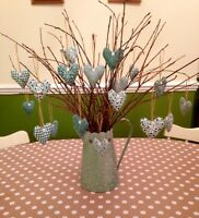 Shabby Chic/Vintage Hanging Hearts X6 Handmade Twig Tree Dec Sage Green Home