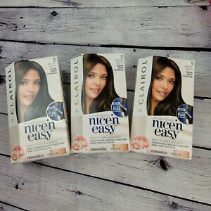 Clairol Nice 'N Easy Permanent # 3 Brown Black Hair Color Gray Coverage Lot of 3