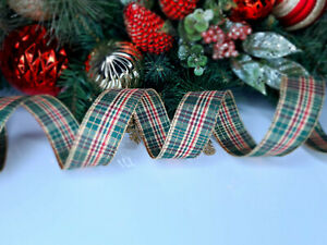 CHRISTMAS WIRED EDGE RIBBON 1.5 IN WIDE TARTAN TREE WRAP GIFT WRAPPING BULK