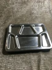 Six Vintage Food Serving Tray Stainless Steel for Lunch / Dinner Military Plate