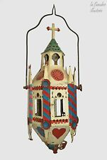 magnifique lanterne de procession polychrome 19ème - outil ancien
