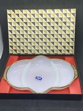 Vintage Anchor Hocking Milk White Anchorglass Fire King With Gold Sectioned Tray