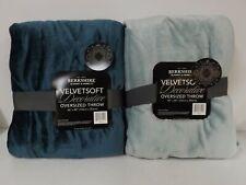 """Berkshire S/2 60"""" x 80"""" Super-Oversized Velvet Soft Throws-Teal-H216674-New"""