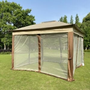 Outdoor Tent 11x 11Ft Pop Up Gazebo Canopy With Removable Zipper Netting 2-Tier
