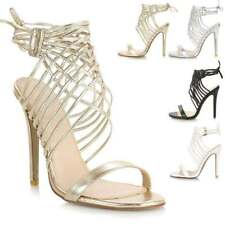 Ladies Womens Lace Up Strappy High Stiletto Heel Open Peep Toe Sandals Shoes