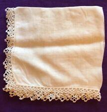 Vintage Heirloom Wedding Hankie Handkerchief Ivory White Lace Hand-Crocheted