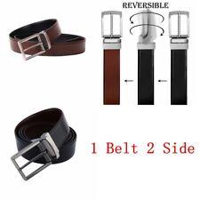Men Reversible Genuine Leather Dress Belt Rotate Buckle Black Coffee Waistband