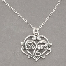 SWEET 16 Sixteen Birthday Filigree Heart Charm Pendant STERLING SILVER Necklace