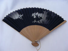 Stunning Silhouette of Boy & Girl on Vintage Chinese cloth folding fan - Rare!