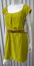 JESSICA SIMPSON NWT SHORT SLEEVE DRESS SIZE 14 SOLID LIME GREEN BELT SQUARE NECK