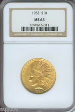 1932 $10 Indian Gold Eagle Ngc Ms63 Ms-63 No spots !