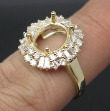 Oval 8×10mm Solid 14K Yellow Gold Natural Diamond Semi Mount Engagement Ring
